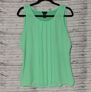 Ann Taylor SZ:M green tank top pleasted front